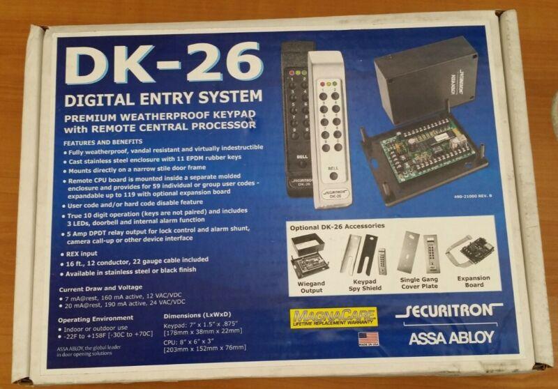 SECURITRON DK-26BK DIGIATL ENTRY SYSTEM WEATHERPROOF KEYPAD