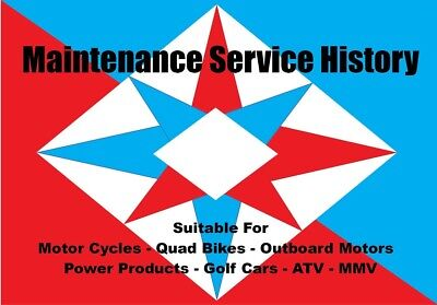 Motorcycle Service History Book Log Motor Bike Quad ATV MMV Generic Service Log