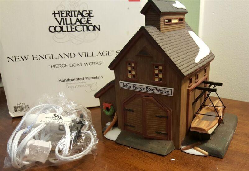 Dept 56 New England Village Series 1995 PIERCE BOAT WORKS 56573 Retired