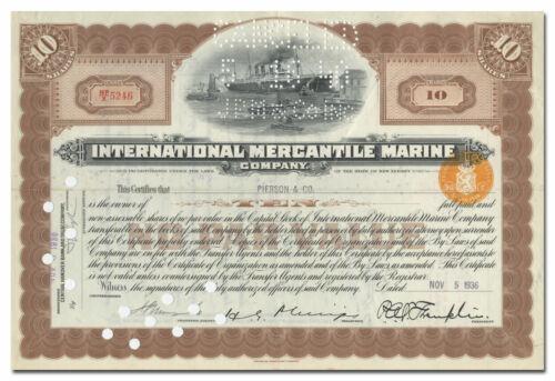International Mercantile Marine Company Stock Certificate (Titanic)