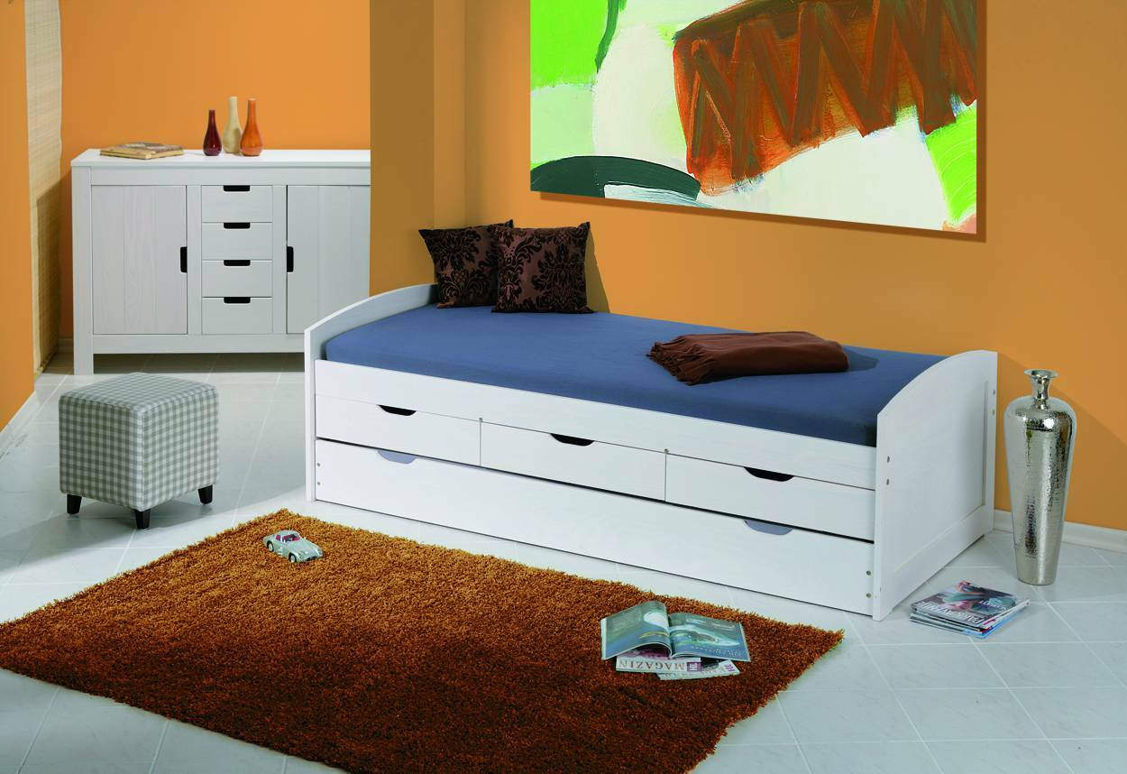 bett 90x190 cm kinderbett funktionsbett kojenbett g stebett wei schubladen neu eur 219 95. Black Bedroom Furniture Sets. Home Design Ideas