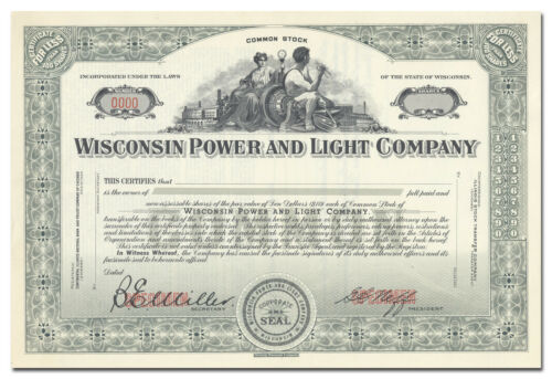 Wisconsin Power and Light Company Specimen Stock Certificate