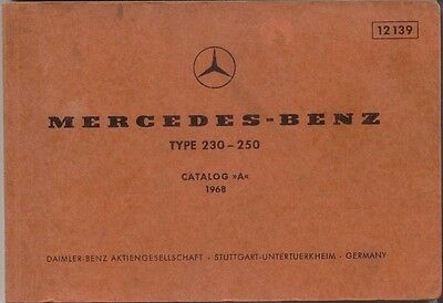 Mercedes Benz 230 250 Saloon 1968 Original Multilingual Spare Parts List 12139