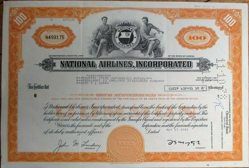 National Airlines, Inc. 1978 Stock Certificate - Aviation