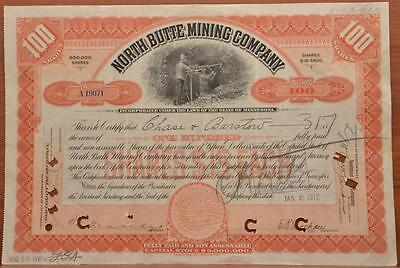 1912 Capital Stock Certificate North Butte Mn Mining Company 100 Shares