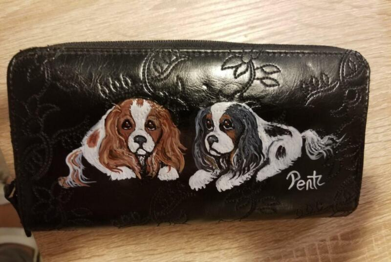 Black Faux Leather Wallet -Hand Painted Cavalier King Charles Spaniel