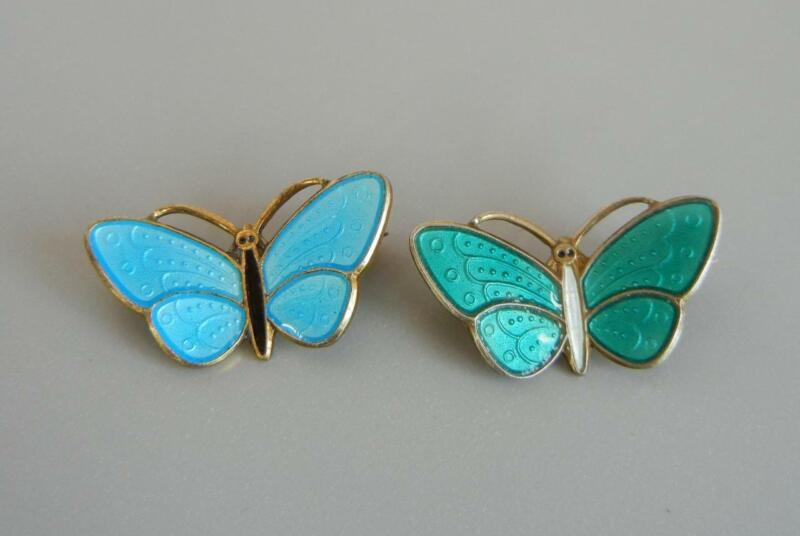 Set 2 Butterfly Pins Gilt Sterling Blue Green Enamel Norway Aksel Holmsen
