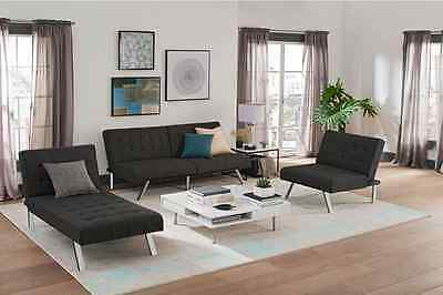 3 pc Living Room Set Convertible Sofa Sleeper Chaise Lounge & Chair Gray or Navy