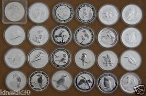 Kookaburra-complete-set-1990-2013-silver-1oz-bullion-coin-Perth-Mint-2008-2009