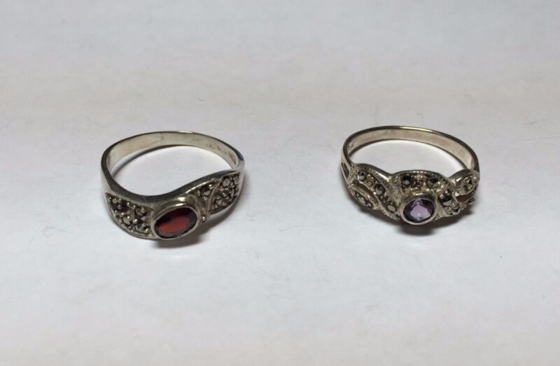 Lot of 2 Sterling Silver & Marcasite and Gemstone Ladies Rings