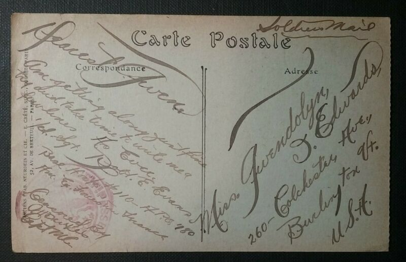 WWI Soldiers Mail AEF France Censored Beautiful Handwriting Calligraphy APO 780