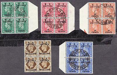 GB 1950 KGVI B.A. Eritrea Overprinted USED Blocks