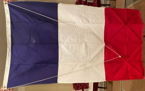 "Vintage Defiance 100% Cotton Red, White, Blue French Flag France 60""x34"""