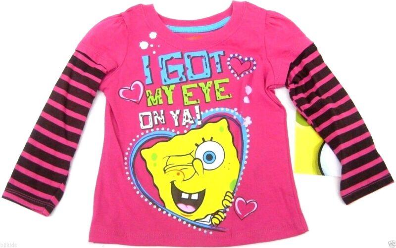 Nickelodeon Spongebob Pink Toddler Girls Long Sleeve T-Shirt Size 2T Clearance