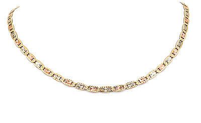 - Real 10K Tri Color Gold Flat Anchor Valentino Chain 16