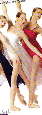 Dance Lyrical Dress Skate Skating Slit Georgette Skirt Wh...