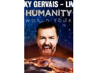 2 tickets: Ricky Gervais - Humanity tour - London
