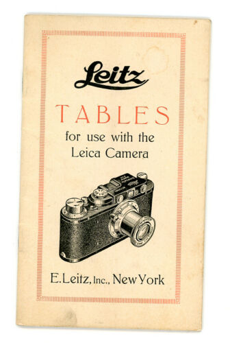 Leitz Tables for use with the Leica camera. Pamphlet / manual 1932 Germany