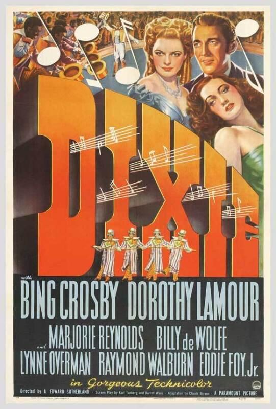 DIXIE Movie POSTER 27x40 Bing Crosby