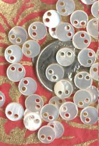 20 VINTAGE micro MOP MOTHER of PEARL BEADS BUTTONS SEQUINS 1940's LOT Embellish