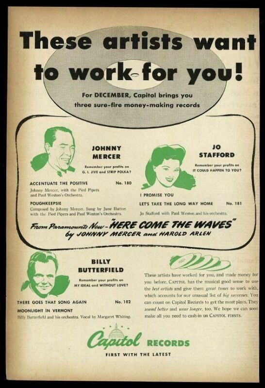1944 Johnny Mercer Jo Stafford Billy Butterfield Capitol Records music trade ad