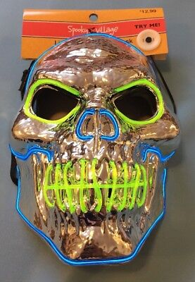 NWT! Spooky Village Adult Halloween Fright Night Light-Up Mask  Crome Skull](Spooky Masks)
