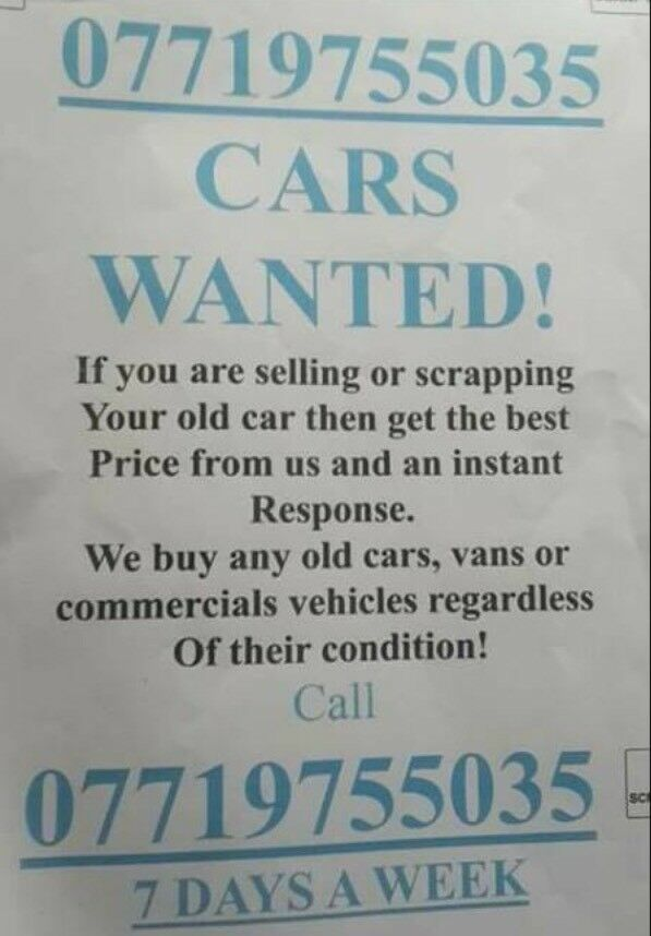 Scrap CARZ wanted