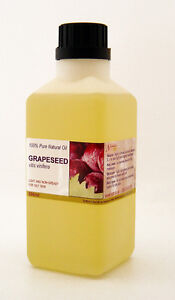 Grapeseed 100% Pure, Natural, Cold Pressed Carrier Oil, 1 Litre