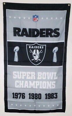 Nfl Decor (Raiders Super Bowl Banner 3x5 Ft Flag Man Cave Wall Decor Gift NFL)