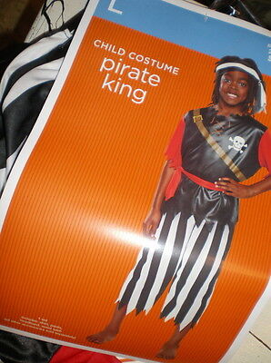 Boys Pirate King Costume L Shirt Pants Headband Waist Sash 4pc Large 10-12