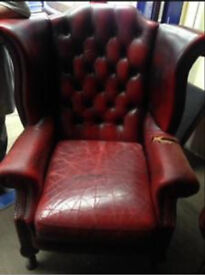 Genuine antique chesterfield wingback high back leather chair CAN DELIVER