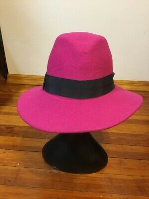 House of Lafayette Felt Fedora Pink Women's Hat with Black Ribbon Band