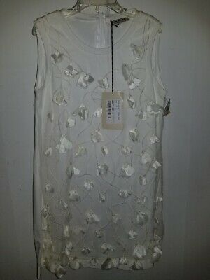 New Mimisol Made in Italy Ivory White Flowers Party Pageant Dress Sz S/7-8 $199
