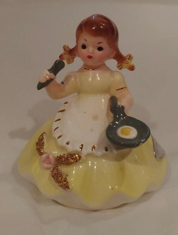 Vintage Josef Originals Girl Yellow Figurine Little Housekeeper Series Cooking