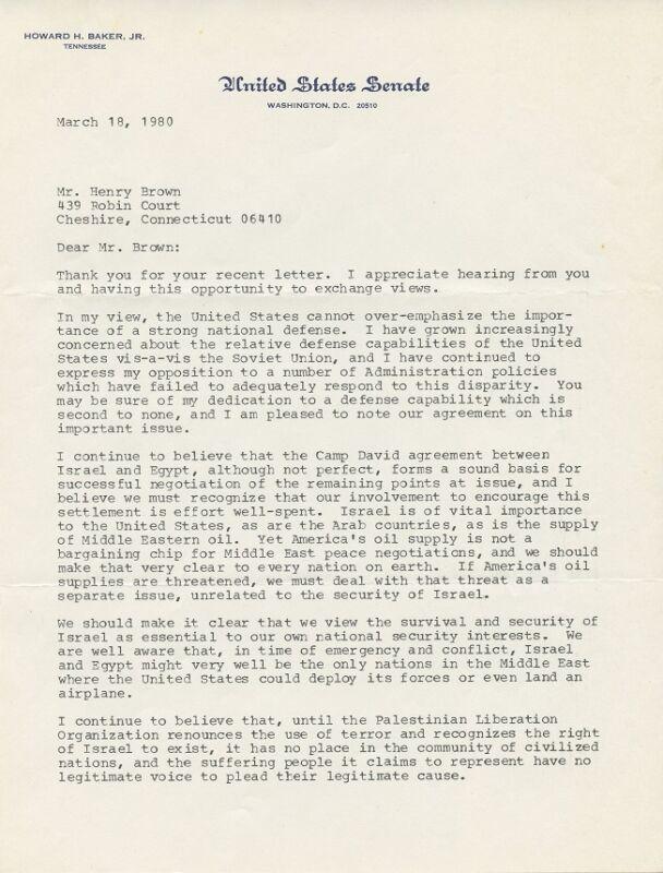 Senator HOWARD BAKER Signed Letter - 1980 - Good Content