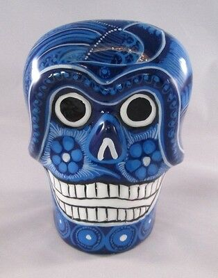 Day Of The Dead Suger Skull Hand Painted Blue Mexican Pottery Napkin Holder - Suger Skull