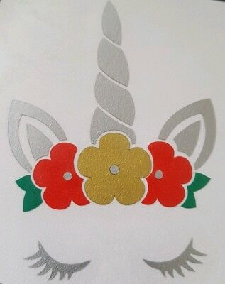 Unicorn Face Vinyl Sticker for Christmas bauble decoration Wine Glass Bottle