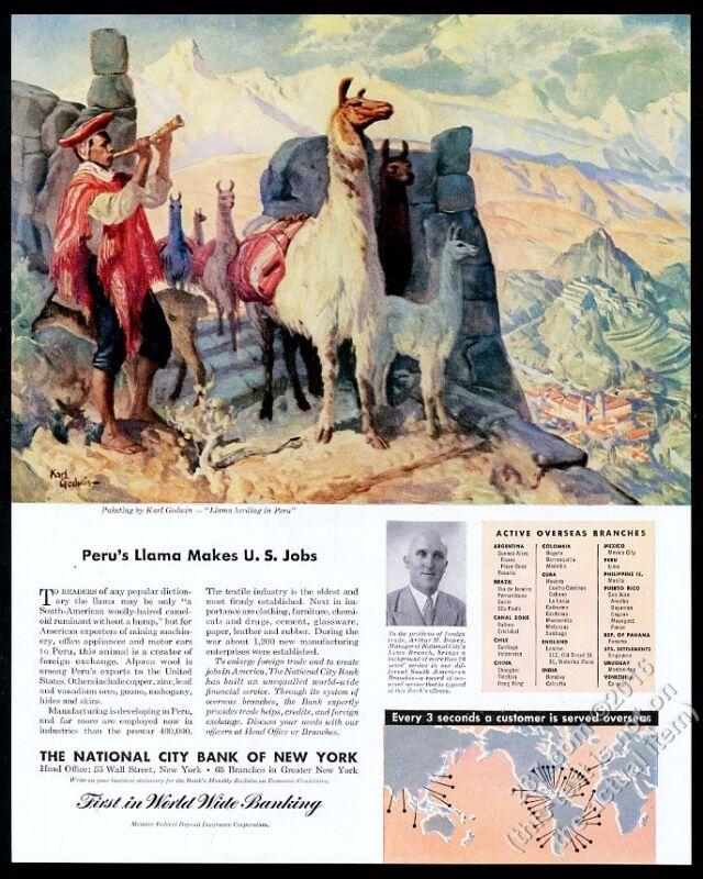 1946 llama herd Peru Karl Godwin art Citibank vintage print ad