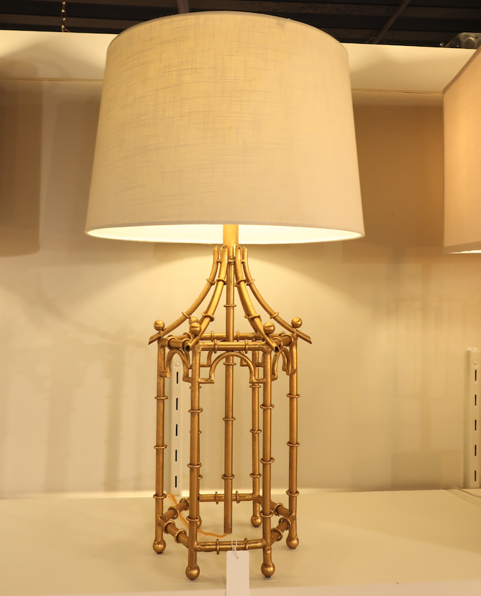 New Gold Bamboo Chinoiserie Table Lamp French Asian Pagoda R