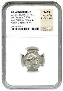 48-BC-Albinus-Bruti-f-AR-Denarius-NGC-Ch-AU-Ancient-Roman