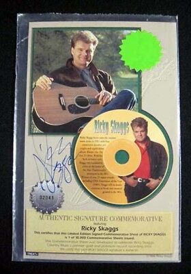 1994 Ricky Skaggs Signed Commemorative Sheet Authentic Autograph