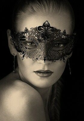 Venetian Masquerade Ball Women Costume prom Party laser cut Metal Eye Mask