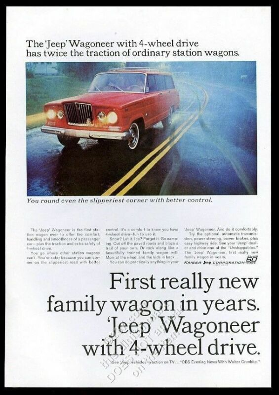 1965 Jeep Wagoneer red SUV in rain color photo vintage print ad