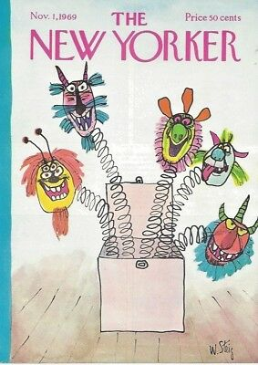 COVER ONLY ~ The New Yorker magazine ~ STEIG ~ November 1 1969 ~ Halloween masks