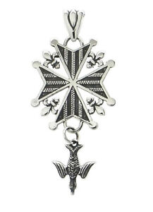 French Huguenot Cross Pendant in Sterling Silver
