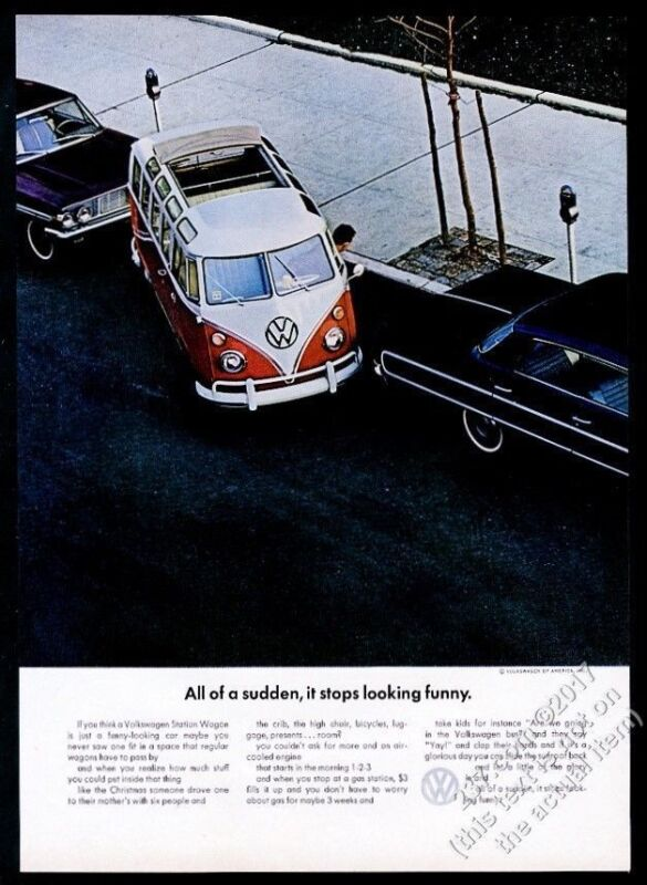 1964 VW Volkswagen Bus ease of parking color photo 11x8 vintage print ad
