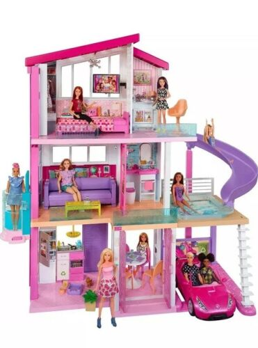 Girls Barbie 3 Storey Doll Dream House Play Set With Furniture. Box Is Damaged!!