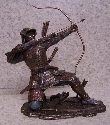 (Figurine Statue Asian Japanese Samurai Archer NEW with gift box)