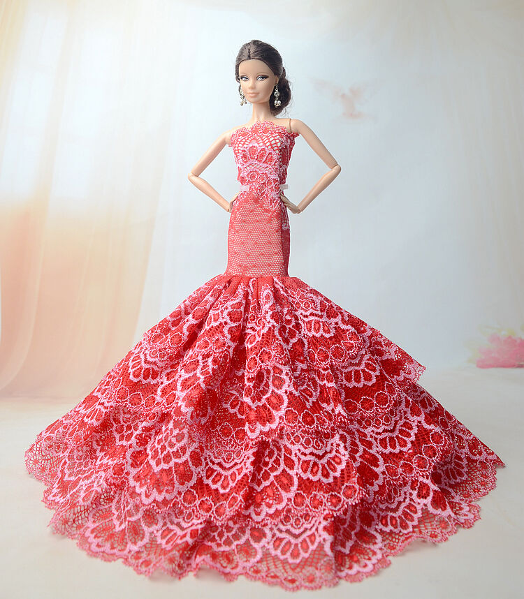 Royalty Mermaid Dress Party Dress/Clothes Gown For Barbie Doll S203