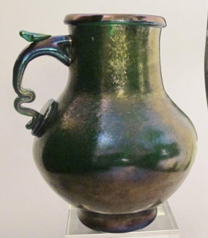 Rare BOHEMIAN Iridized Green Art Nouveau Glass Vase c. 1890  antique +